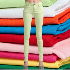 Women's Candy Color Pants Pencil Trousers Spring Autumn Elegant Office Mid Waist Pants For Women Slim skinny jeans pants female-geekbuyig