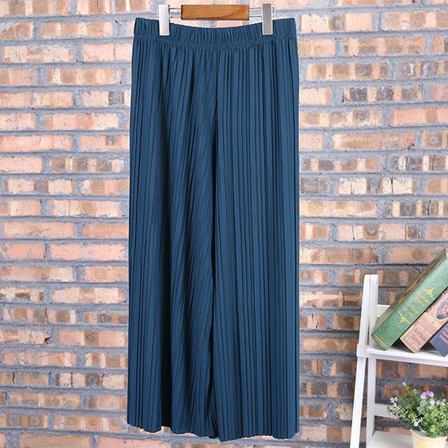 Womens Palazzo Pants High Waist Wide Leg Culottes Long Trousers Casual 6 Colors-geekbuyig