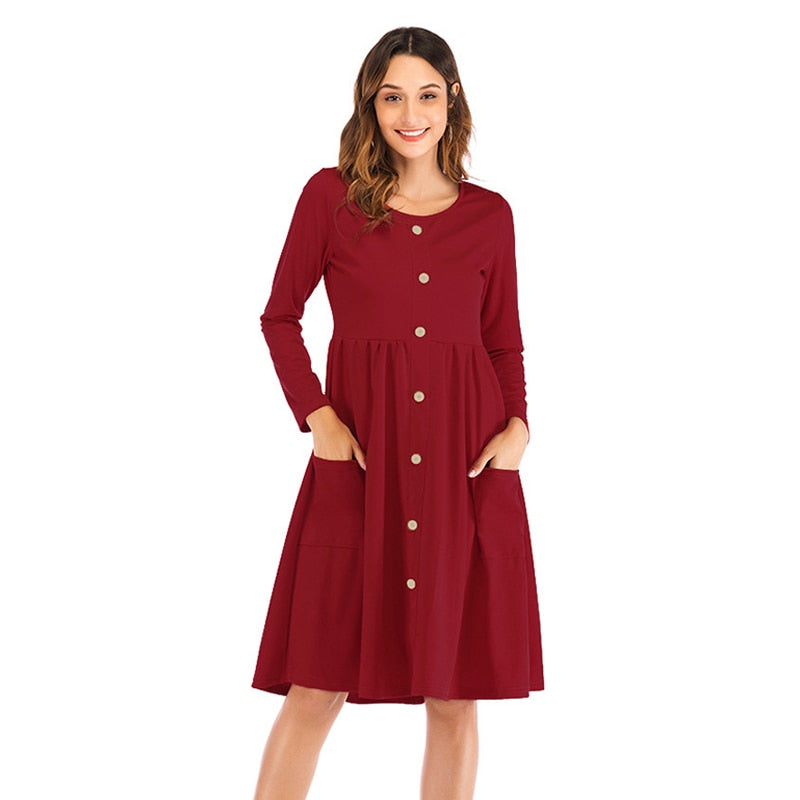 NORA TWIPS 2018 Autumn Winter Cotton Dress Women O-Neck Long Sleeve Button Pocket Knee-Length Party Dresses Vestidos-geekbuyig