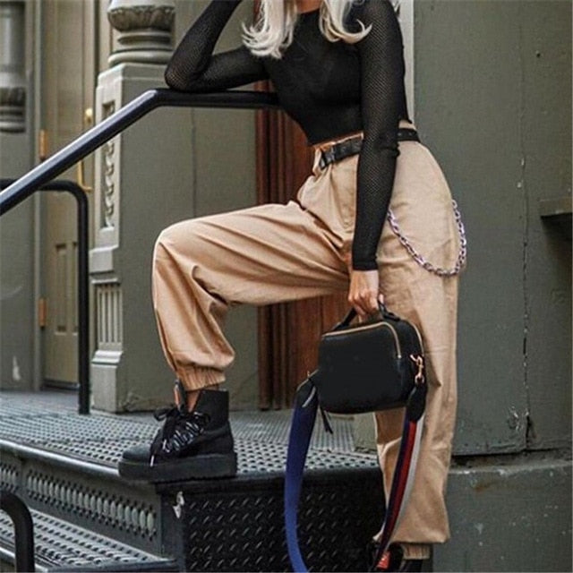 Elegant Streetwear Cargo Pants Women Casual High Waist Loose Trousers Ladies Solid Color Pocket Pants Female Fashion Trousers-geekbuyig