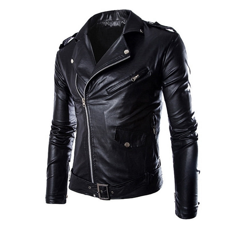 WENYUJH Spring Autumn Fashion Motorcycle Jackets PU Leather Moto Jackets Men Slash Zipper Lapel Biker Rider Faux Leather Coat-geekbuyig