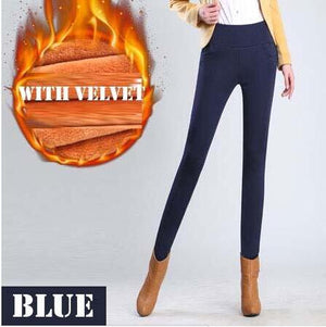 WKOUD Winter Leggings Women Plus Size High Waist Stretch Thick Legging Solid Skinny Warm Velvet Pencil Pants Lady Trousers P8667-geekbuyig