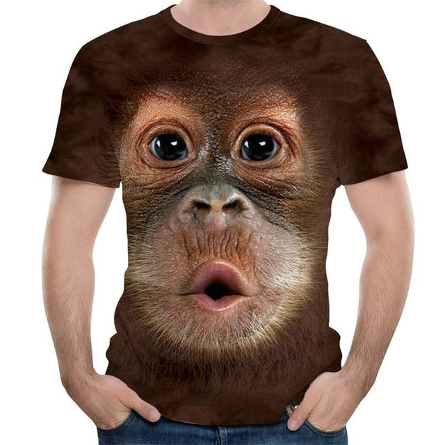 Men's T-Shirts 3D Printed Animal Monkey tshirt Short Sleeve Funny Design Casual Tops Tees Male Halloween t shirt European Size-geekbuyig