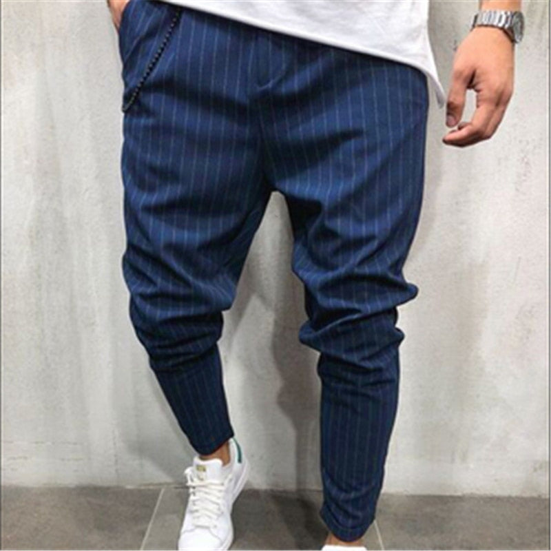 2018 New Fashion Thin Section Pants Men Casual Slim Stripe Trouser Jogger Bodybuilding Fitness Sweat Time limited Sweatpants 3XL-geekbuyig
