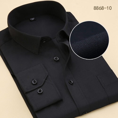 Solid/Twill Fashion Formal Men Dress Shirts Long Sleeve Business With Chest Pocket Plus Size 6XL Clothes Social Work Male Shirt-geekbuyig