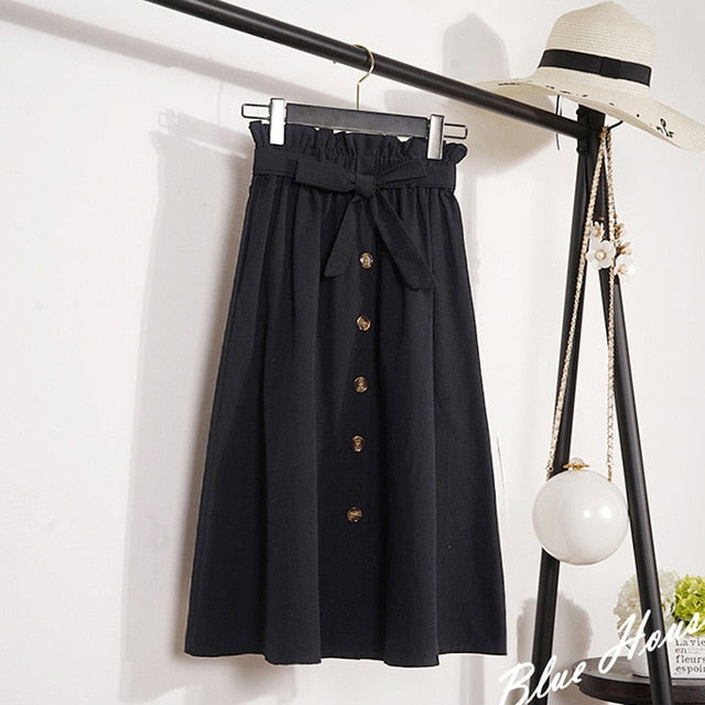 Summer Skirts Womens Mid-Calf Korean Elegant Button High Waist Skirt Female Pleated Skirt Plus Size-geekbuyig