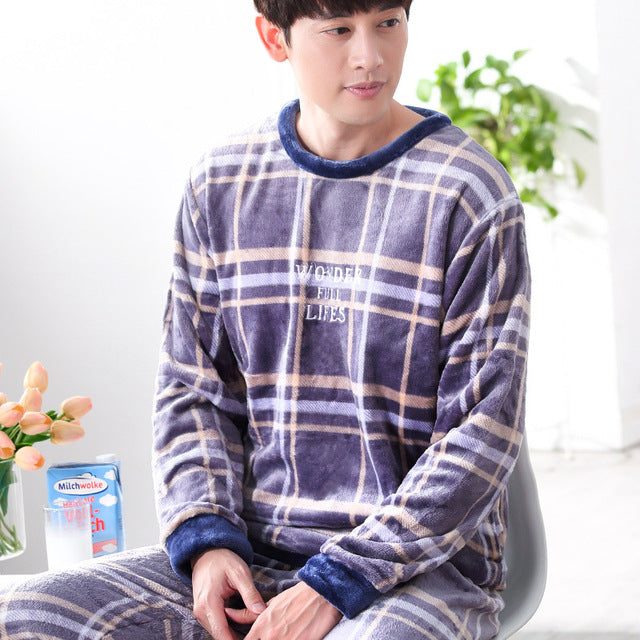 Winter Pajamas Men Thick Coral Fleece Pajama Sets Luxury Warm Sleepwear Flannel Mens Pyjama Sets Casual Home Clothes Pijama-geekbuyig