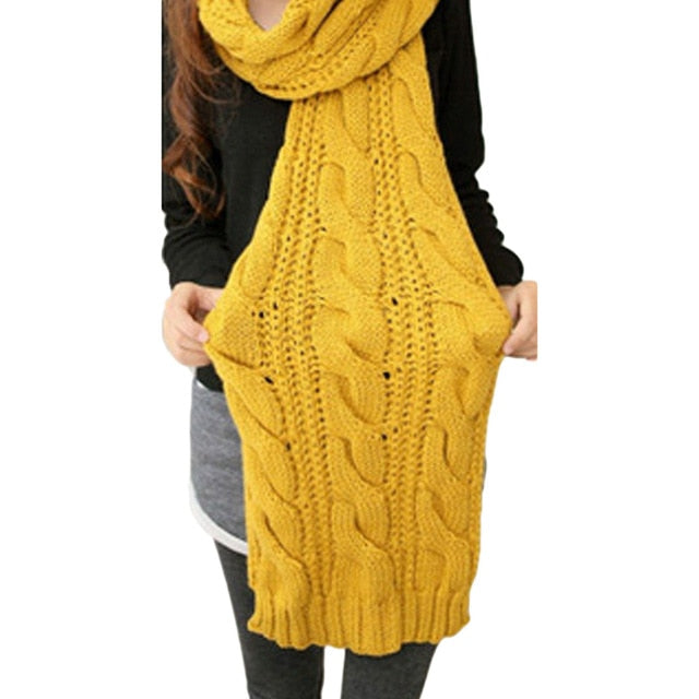 Hot Circle Cable Crochet Knit Scarf Shawl Wrap Winter Warm Cowl Neck Ginger Yellow-geekbuyig