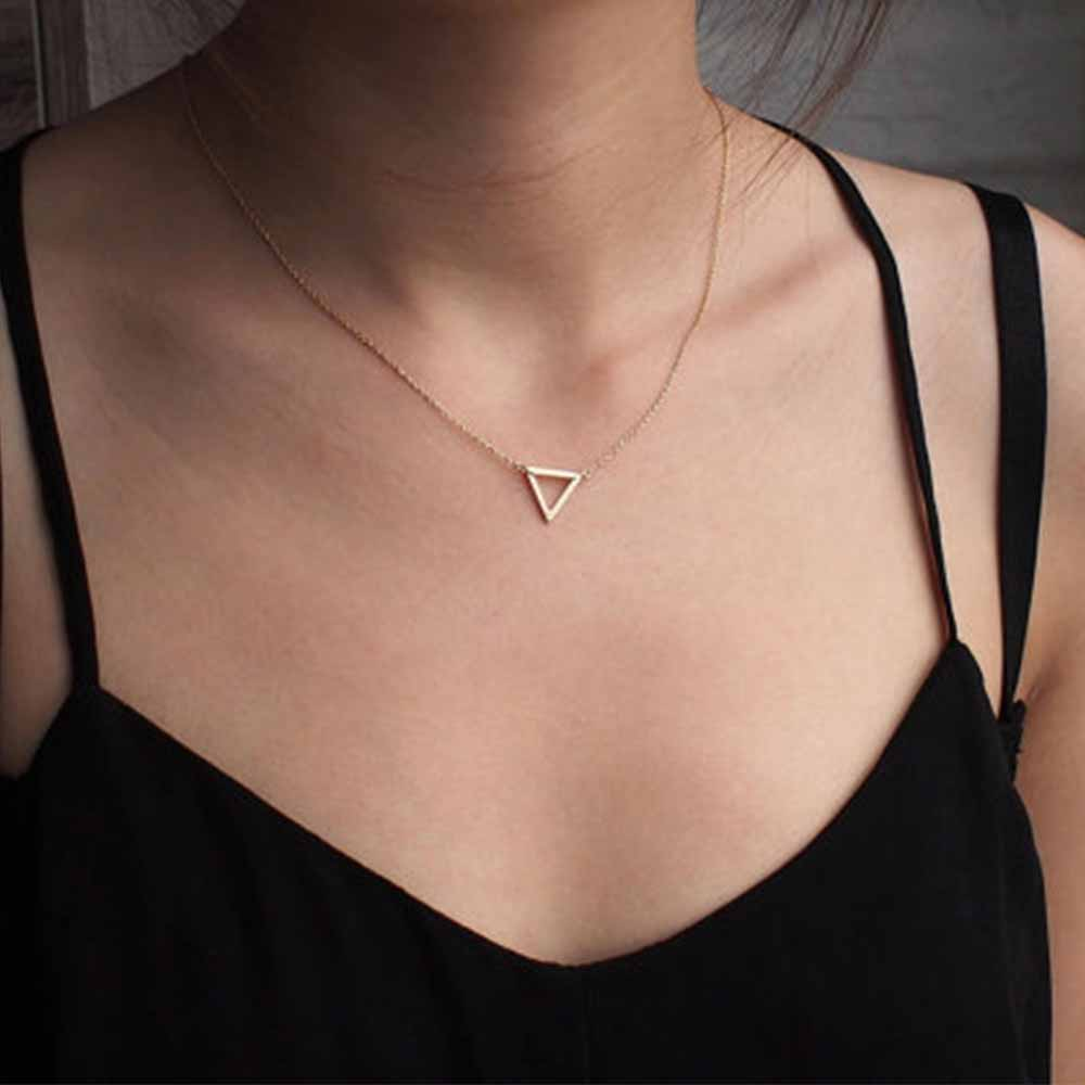 Charm necklace metal triangle Pendant Necklaces ladies gift-geekbuyig