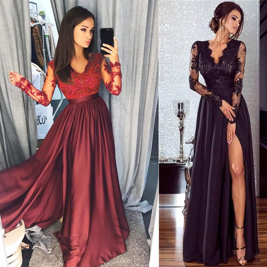 2018 Autumn Women New Lace Evening Party Ball Prom Gown Formal Cocktail Wedding Long Dress-geekbuyig