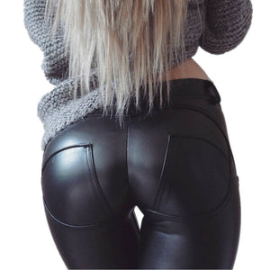 EOEODOIT Plus Size PU Leather Pants Women Elastic Waist Hip Push Up Black Sexy Female Leggings Jegging Casual Skinny Pencil Pant-geekbuyig