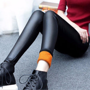 Plus Velvet Faux Leather Legging Women Winter Warm legging large Size Black Leggings Calzas Mujer Leggins Thick Fleece Sexy Y081-geekbuyig