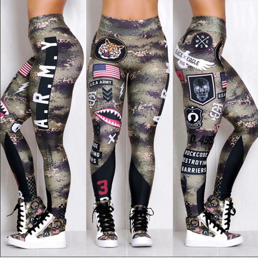 Women Army Printed Leggings Elastic Fitness High Rise Waist Girls Leggins Global Drop Shipping Leggings-geekbuyig