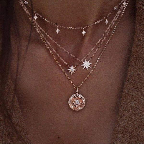 IPARAM Bohemian Multi-layer Star Moon Necklace Women 9 Style Vintage Necklace Fashion Layered Crescent Map Jewelry-geekbuyig