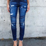 Women's Denim Skinny Pants Ripped Destroyed Stretch Jeans Slim Pencil Trousers-geekbuyig