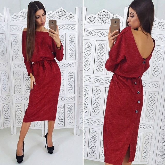 Women Sexy Backless Button Dress Ladies O Neck Sashes A Line Dresses 2018 Autumn Winter New Solid Casual Long Sleeve Dress-geekbuyig