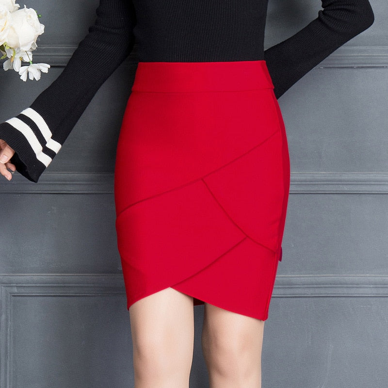 2018 Summer Women Work Skirt Fashion Slim Ruffle Elastic High Waist Package Hip Skirt Black And Red Skirts-geekbuyig