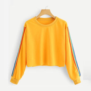 Hirigin 2018 New Women Spring Autumn Rainbow Stripe Cute Patchwork Long Sleeve Crew Neck Loose Crop Top Casual Short Hoodies-geekbuyig