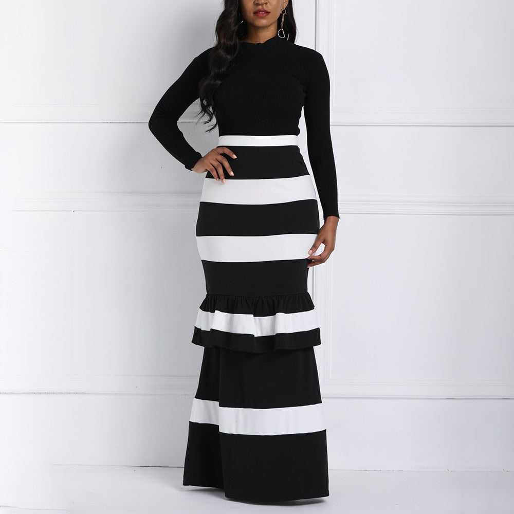 Clocolor Black Striped Long Skirt 2018 Women Bocydon Autumn High Waist Ruffles Ladies Elegant Party Plus Size Mermaid Maxi Skirt-geekbuyig