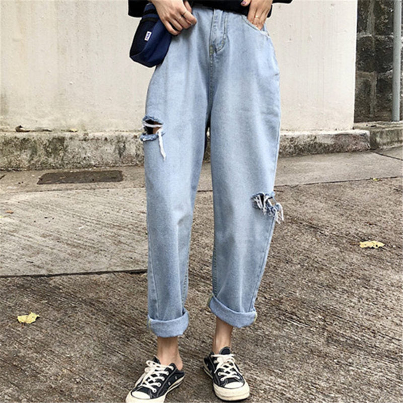 women Hole jeans 2018 Summer Hollow Ulzzang Casual High waist Loose Large size Harajuku Korean Wide leg Turnip pants-geekbuyig