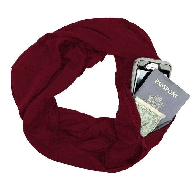 New 2018 Soft Zipper Pocket Loop Scarf Women Fashion Foulard Femme Solid Scarfs Autumn Winter Warm O Ring Scarves For Ladies-geekbuyig