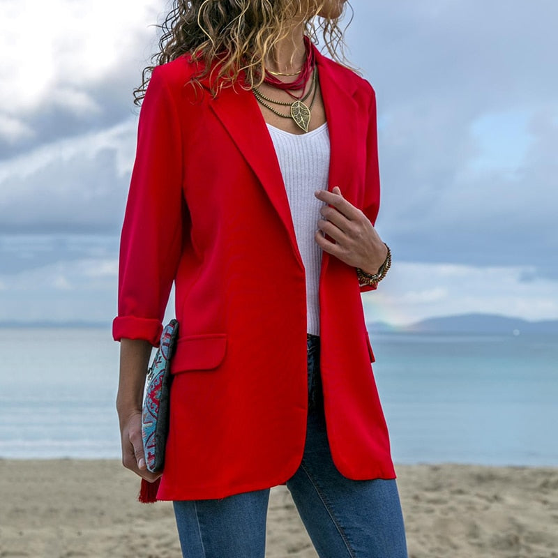 Elegant Women Fashion Lapel Blazer Coat Sexy Slim Autumn Suit Female Black Red Blue Bussiness Outwear Women Clothing For Work-geekbuyig