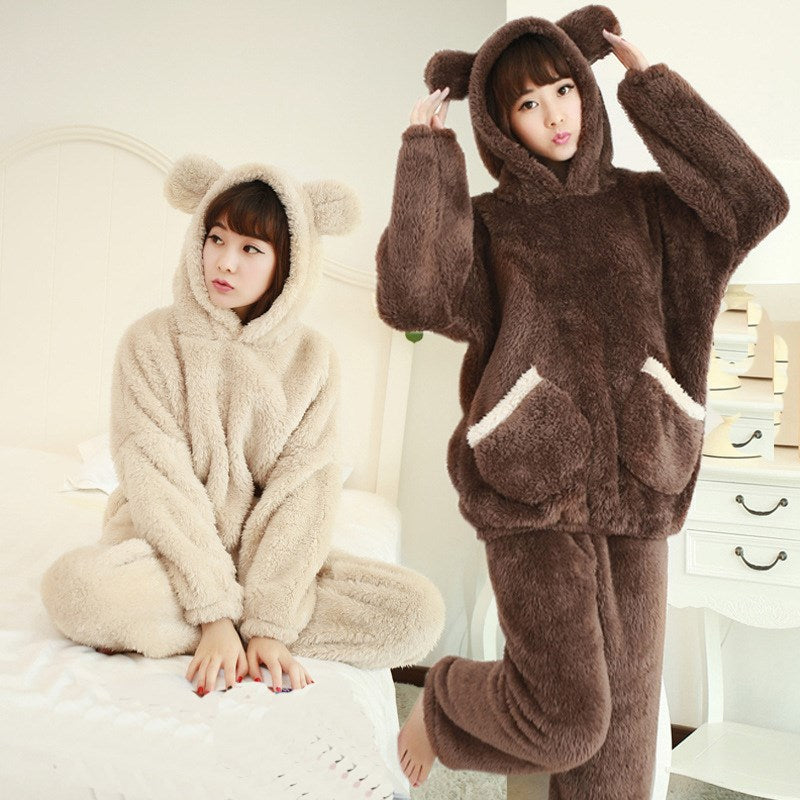 2018 Autumn Women Flannel Pajamas Set Solid Coral Fleece Bear Hooded Pajamas Sleepwear Thickened Warm Pajamas Set-geekbuyig