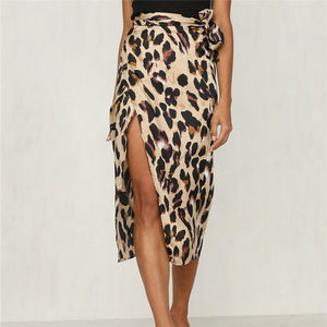 Autumn New Women Skirt Wrap Over Asymmetric Side Split Gypsy Drape Mid-Calf Bodycon Skirts Fashion Leopard Slim Pencil Skirt-geekbuyig