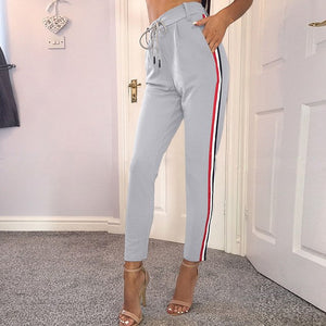 Ribbon Side Patchwork Pants Women 2017 Casual Fashion Grey Black Trousers Drawstring Waist Elegant Straight Pants-geekbuyig