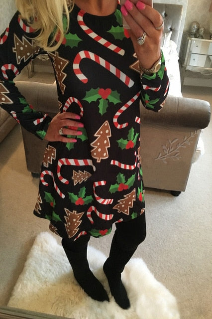 Winter Casual New Year Christmas Mini Dress Women Long Sleeve Floral Plus Size Dress Clothes Femme O-neck Ladies Dresses-geekbuyig