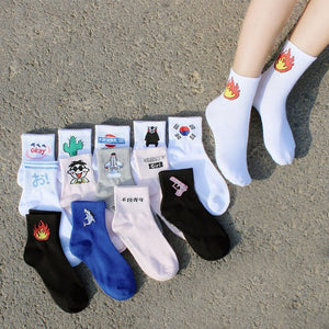 Fashion Women Daily Socks Harajuku Cotton Kitten Flame Socks Men Cactus Shark Alien Students Funny Socks-geekbuyig