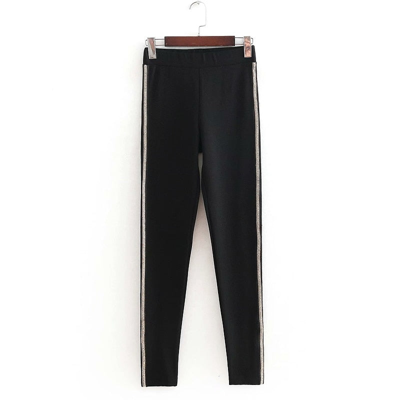 Women Vintage elastic wasit side chain diamond decoration pencil pants retro Trousers office lady wear slimming brand pants P160-geekbuyig