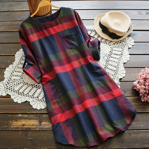 2018 Hot Autumn Winter New Women Ladies Plaid Long Sleeve A-Line Loose Pocket Swing Vintage Dress Plus Size vestido-geekbuyig