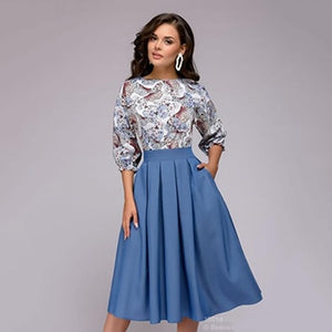 women autumn knee-length dress Hot sale O-neck 3/4 sleeve printing dress with ruffles Elegant women Summer vestidos-geekbuyig