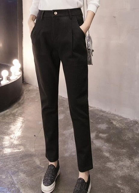 Women Woolen Pant 2018 Autumn Winter Female Casual Warm Thick Trousers Office Lady Career Harem Pants Women Wool Pencil Pants-geekbuyig
