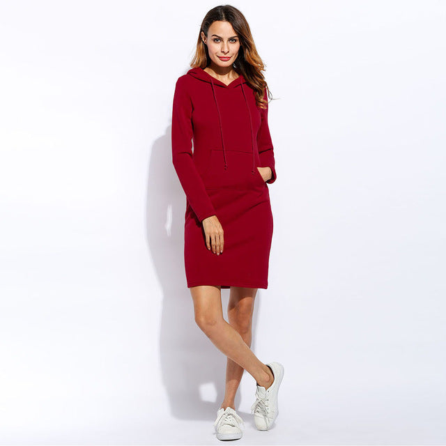 Winter Dress Women Vestidos Hoodies Sweatshirt Dress 2018 Fashion Hooded Drawstring Full Sleeves Fleeces Women Dresses Plus Size-geekbuyig