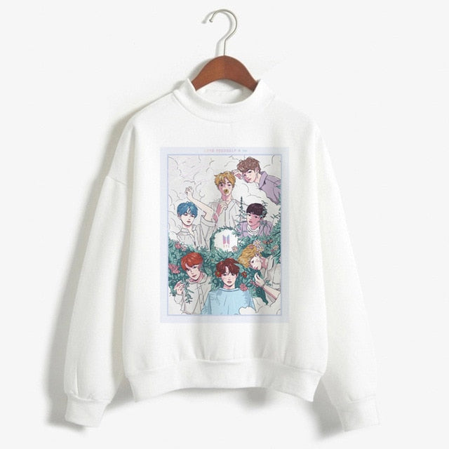 BTS Love Yourself K Pop Women Hoodies Sweatshirts Bangtan Boy Bangtan Boys Jimin V J-hope Suga Jin RM Jung Kook Hip-Hop Hoodies-geekbuyig