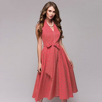 Dot printing vintage dresses 2018 summer women Dress Sleeveless fashion A-line sashes slim V-neck Knee-Length dresses Vestidos-geekbuyig