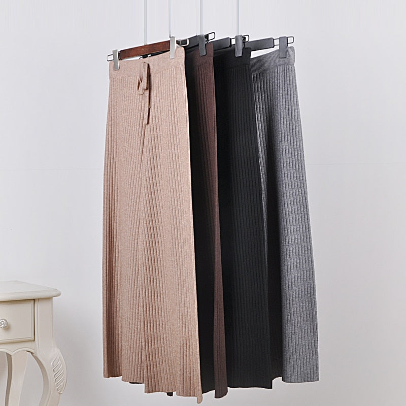 Thin section knitted wide leg pants female 2018 summer Korean loose high waist casual pants trousers pant-geekbuyig