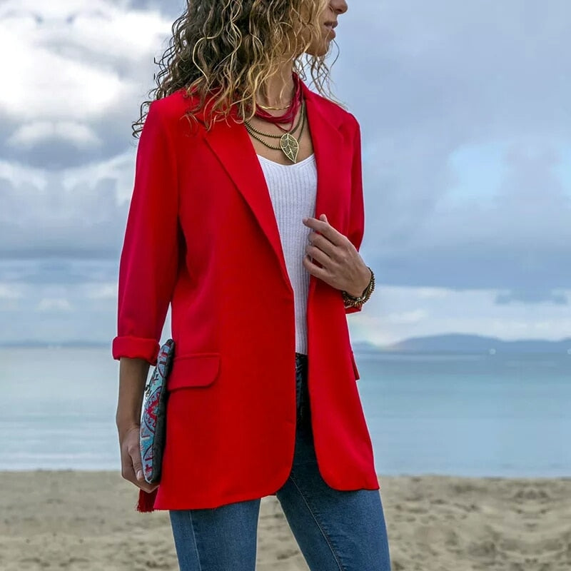 Women coat and jackets coat mujer elegante 2018 new Long sleeve coat feminino plus size suit jacket women Navy Red Black-geekbuyig