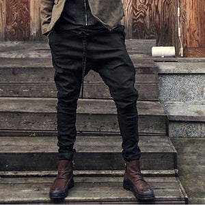 DIAOOAID 2018 new straps fashion loose pocket feet pants solid color men's harem pants casual male personality hiphop long pants-geekbuyig