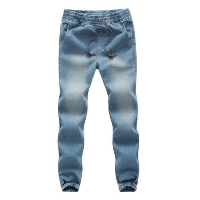 FeiTong Sweatpants for Men Casual Autumn Denim Cotton Elastic Draw String Work Trousers Jeans Pants Military Pants-geekbuyig