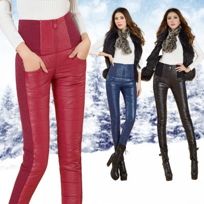 2018 Winter ladies Outer Wear Women Pants Fashion Cotton Warm Thick slim Down Pants Trousers Female Slim Velvet Thick skinny-geekbuyig