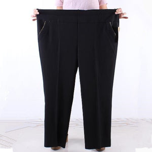 Office Women Pants 2018 Winter Autumn Plus Size 6XL 7XL Middle Age Women Wear Pants Elastic Waist Female Black Trousers J364-geekbuyig