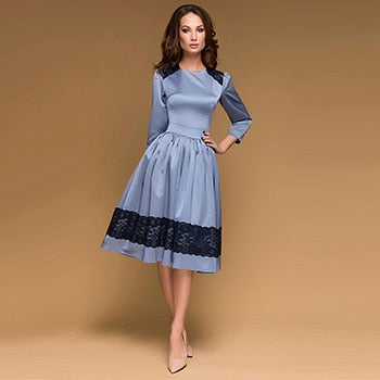 Women Vintage Lace Patchwork Party Dress Three Quarter Sleeve O-neck Solid Midi Chic Dress 2018 Autumn New Fashion Women Dress-geekbuyig