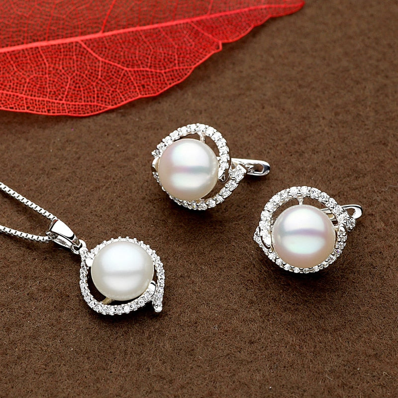 Sinya 9-11mm natural pearls silver earring pendant necklace or jewelry set optional for women mother in 925 sterling silver-geekbuyig