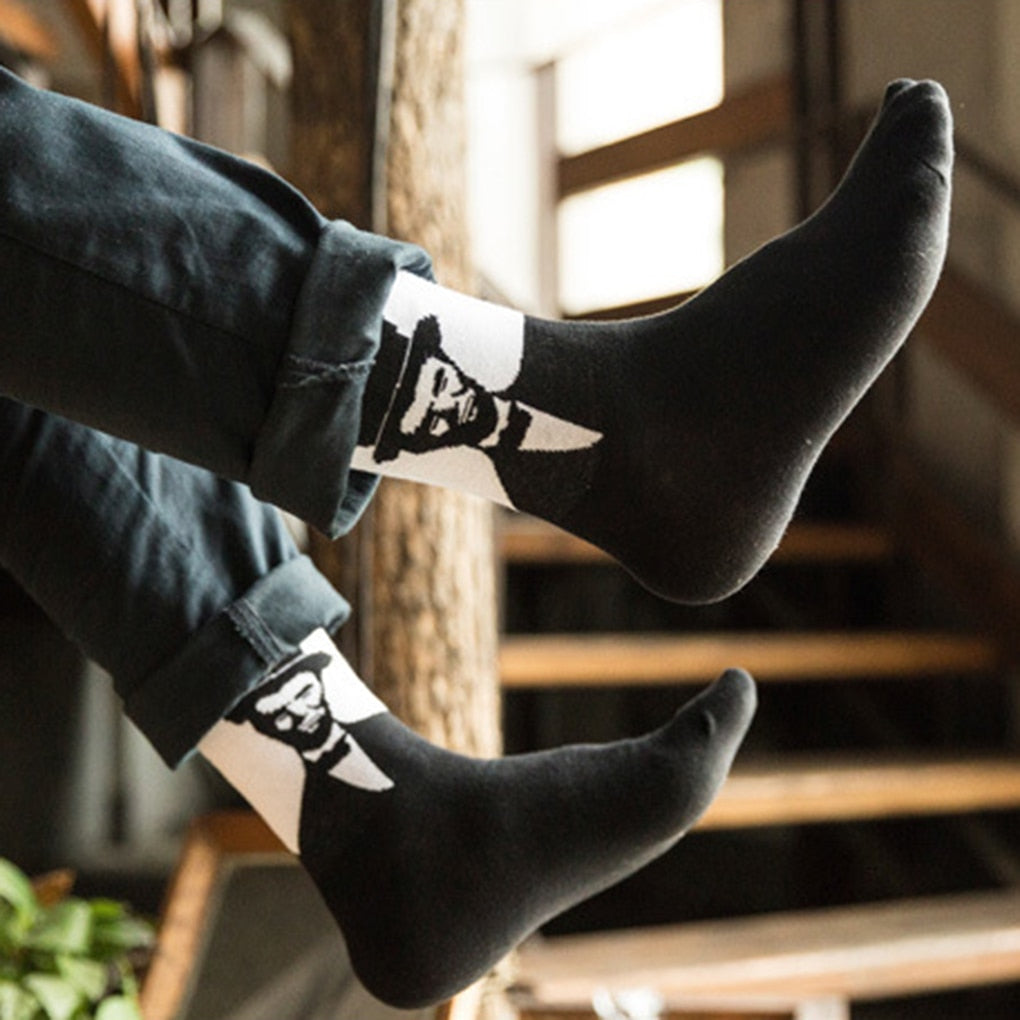Men Socks Gentleman Style Pattern Autumn Winter 70% Cotton Socks Boys' Socks Tube Socks-geekbuyig