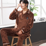 Winter Flannel Men's Pajamas Set Warm Thicken Coral Fleece Pajamas Men's Long Sleeve Nightwear high quality home sleepwear suit-geekbuyig