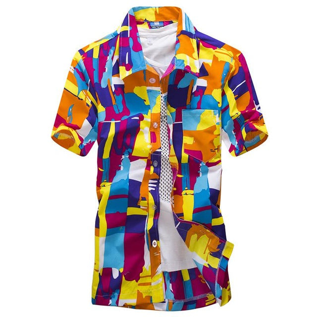 Fashion Beach Hawaiian Shirts Men Clothes 2018 Summer Coconut Tree Printed Short Sleeve Button Down Hawaiian Aloha Shirts Mens-geekbuyig
