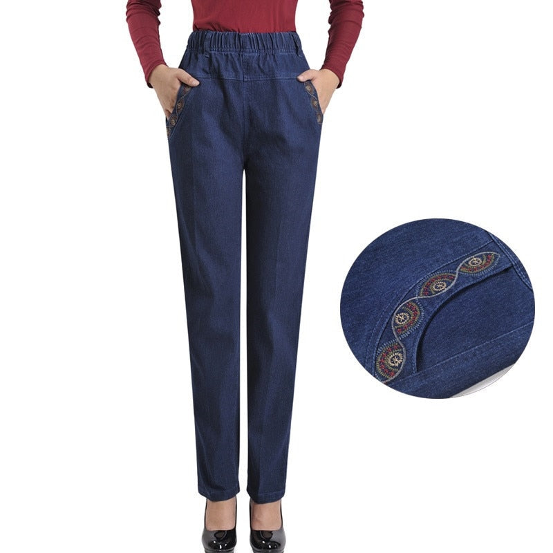 new jeans women autumn denim breeches embroidery jeans plus size 5XL high waist elasticity casual pants feminine jean calf H450-geekbuyig